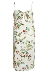 Leith Keyhole Midi Dress Ivory Alluring Floral