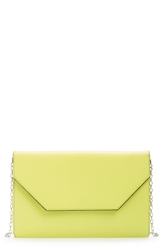 Halogen Angled Leather Day Clutch Lime Citrus
