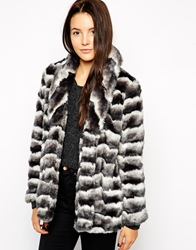 Glamorous Two Tone Faux Fur Coat Grey