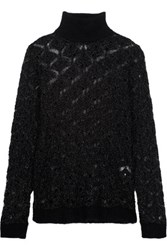 Balmain Metallic Open Knit Mohair Blend Turtleneck Sweater Black