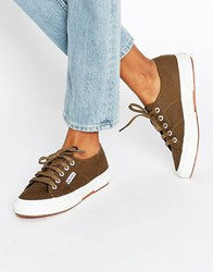 Superga Classic Plimsoll Trainers In Khaki Green