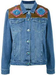 Simonetta Ravizza Shoulder Panel Denim Jacket Blue