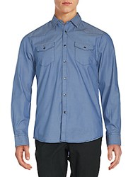 James Campbell Long Sleeve Solid Button Down Shirt Water