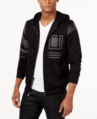 Inc International Concepts Men's Mixed Media Hoodie Only From Macy's Deep Black