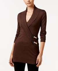Inc International Concepts Faux Wrap Tunic Sweater Only At Macy's Heather Brown
