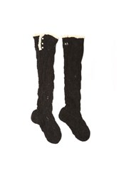 Lowie Black Mohair Lacy Knee Socks