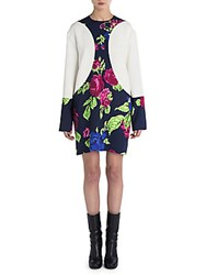 Peserico Floral Long Sleeve Shift Dress White Floral