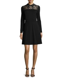 Erin Fetherston Lace Yoke Fit And Flare Shirtdress Black