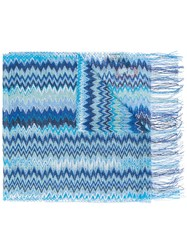 Missoni Zig Zag Crochet Knit Scarf Women Viscose One Size Blue