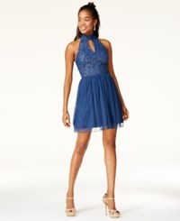 Speechless Juniors' Glitter Lace Mock Neck Fit And Flare Dress Blue Gold