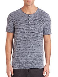 John Varvatos Striped Short Sleeve Henley Dark Navy