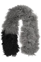 Karl Donoghue Two Tone Shearling Scarf Gray