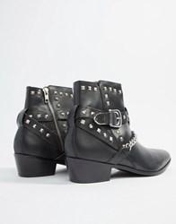 House Of Hounds Jasper Studded Cuban Boots In Black Leather