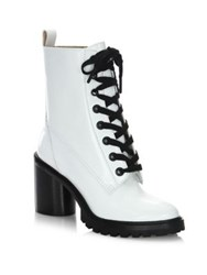Marc Jacobs Ryder Lace Up Leather Booties White Black