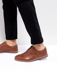 Asos Brogue Shoes In Tan Faux Leather With Contrast Sole