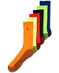 Polo Ralph Lauren Men's Athletic Celebrity Crew Socks 6 Pack Neon