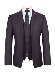 Lambretta Men's Jacquard Slim Fit Three Piece Suit Red