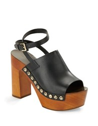 Sigerson Morrison Quella Wooden Platform Leather Clog Sandals Black