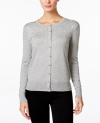Charter Club Petite Embellished Cardigan Only At Macy's Heather Platinum