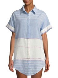 Red Carter Stripe Colorblock Shirt Tunic Periwinkle