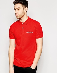 Dkny Polo Shirt Short Sleeve Aplique Logo Red