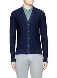Isaia Textured Stripe Knit Cardigan Blue