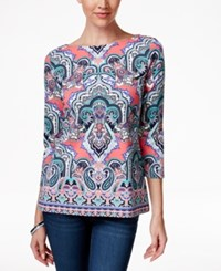 Charter Club Boat Neck Blouse Medallion Print Crushed Peony