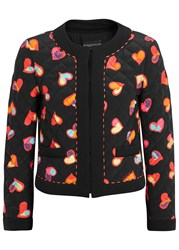 Boutique Moschino Black Heart Print Quilted Silk Jacket