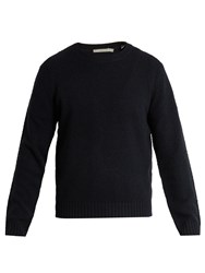 Vince Textured Wool Blend Sweater Blue