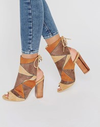 Truffle Collection Vela Ankle Cuff Heeled Sandals Camel Pu Multi