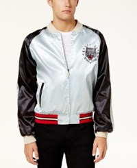 Ring Of Fire Men's Beast Mode Embroidered Colorblocked Jacket Created For Macy's Silver Blk