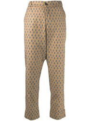 Berwich Embroidered Cropped Trousers Neutrals