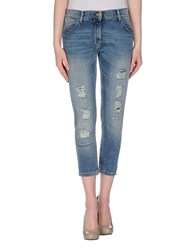 Pinko Grey Denim Denim Capris Women Blue