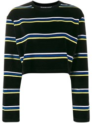 Alexander Wang Cropped Striped Jumper Black