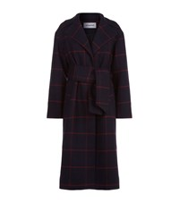 Self Portrait Long Checked Coat Navy