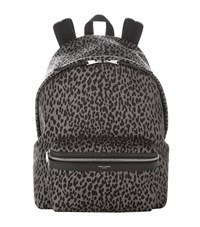 Saint Laurent Leopard Print Backpack Unisex Dark Grey
