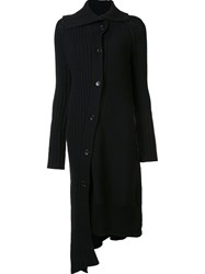 Y's High Neck Ribbed Cardi Coat Black