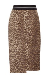 Haus Alkire Pier Silk Brocade Leopard Pencil Skirt Print