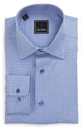 David Donahue Men's Big And Tall Regular Fit Check Dress Shirt Blue