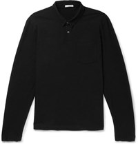 James Perse Loopback Cotton Jersey Polo Shirt Black