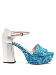 Rochas Brocade And Leather Platform Sandals Blue Multi