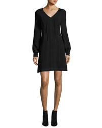 Grey By Jason Wu Long Sleeve V Neck Dress W Contrast Topstitching Black