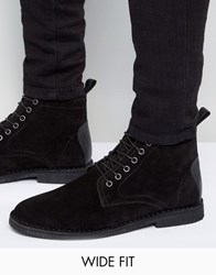 Asos Wide Fit Desert Boots In Black Suede With Leather Detail Black