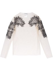 Melampo Sheer Embroidered Top Women Nylon Polyester 40 Nude Neutrals