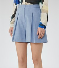 Reiss Miller Short Womens Pleated Culotte Shorts In Blue