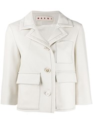 Marni Cropped Fitted Jacket Neutrals