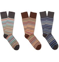 Paul Smith Three Pack Striped Stretch Cotton Blend Socks Multi