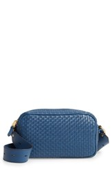 Cole Haan Zoe Rfid Woven Leather Camera Bag Blue Navy Peony