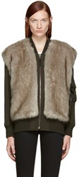Helmut Lang Green Faux Fur Bomber Jacket