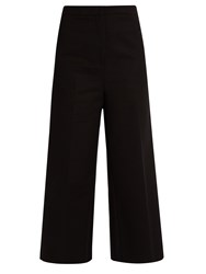 Rochas Wide Leg Stretch Cotton Cropped Trousers Black